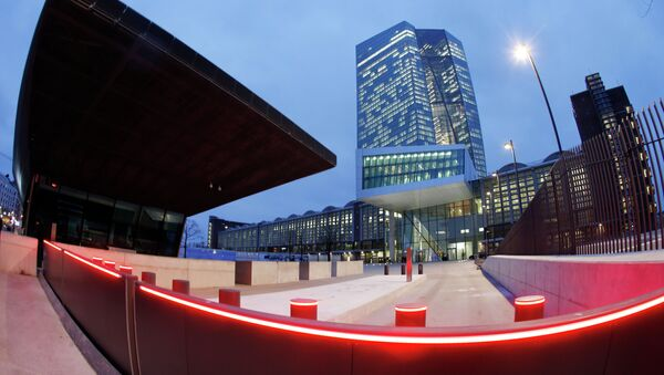 In this picture taken with a fisheye lens the new headquarters of the European Central Bank is photographed in Frankfurt, Germany, Wednesday, Jan. 21, 2015 - Sputnik International