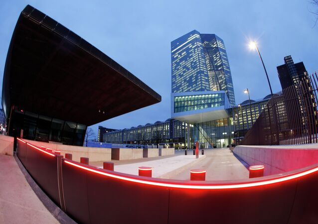 In this picture taken with a fisheye lens the new headquarters of the European Central Bank is photographed in Frankfurt, Germany . file photo