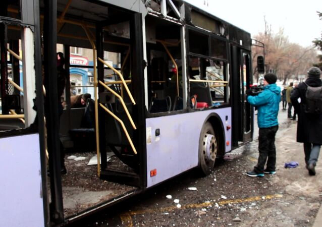The bus fired at a stop of public transport in Leninsky district of Donetsk