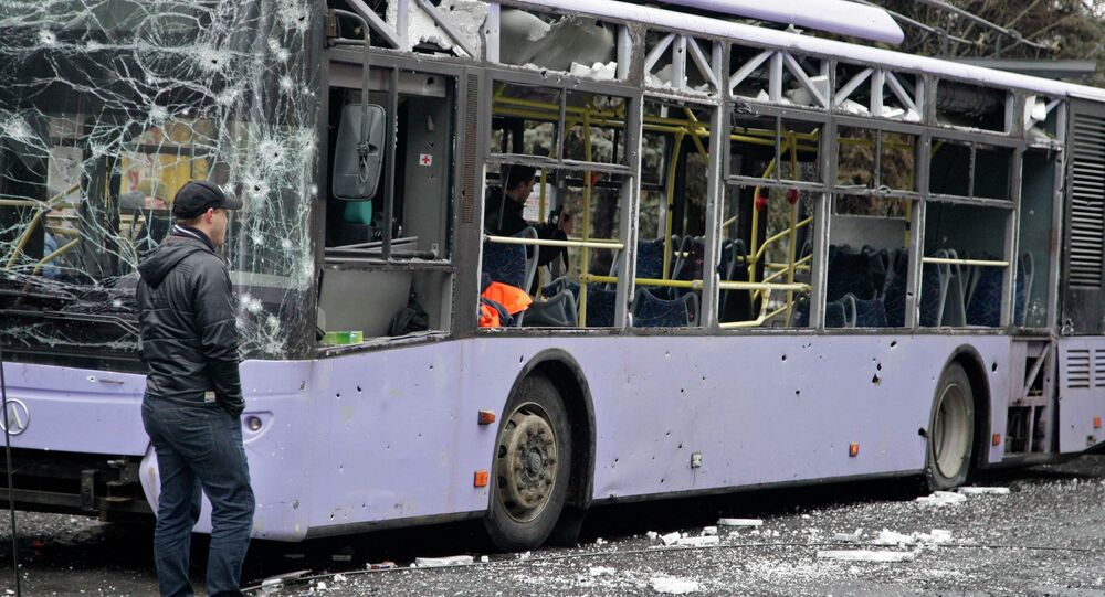 A view shows a damaged trolleybus in Donetsk, January 22, 2015