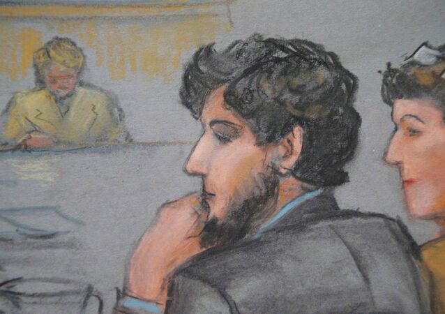 A courtroom sketch shows Boston Marathon bombing suspect Dzhokhar Tsarnaev (C) during the jury selection process in his trial at the federal courthouse in Boston, Massachusetts January 15, 2015