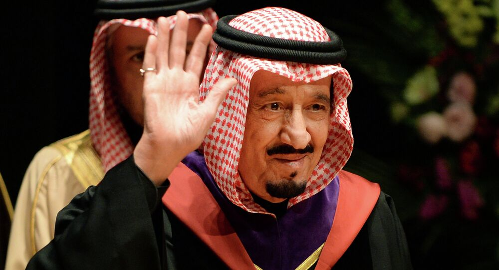 A file picture taken on February 21, 2014, shows Saudi Crown Prince Salman bin Abdulaziz waving as he visits Waseda University in Tokyo