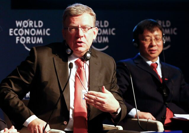 Russia's former finance minister Alexei Kudrin speaks during the session 'The Russia Outlook' in the Swiss mountain resort of Davos January 23, 2015
