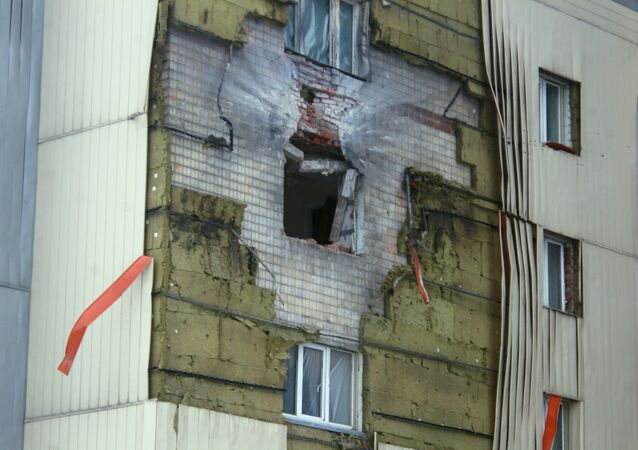 A residential building near Donetsk railway station damaged in the result of shelling by the Ukrainian army