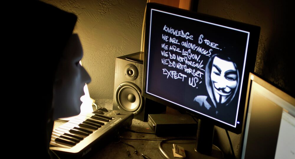 A masked hacker, part of the Anonymous group, hacks the French presidential Elysee Palace website on January 20, 2012