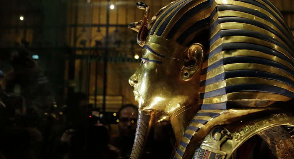 The gold mask of King Tutankhamun is seen in a glass case during a press tour, in the Egyptian Museum near Tahrir Square, Cairo, Egypt. File photo