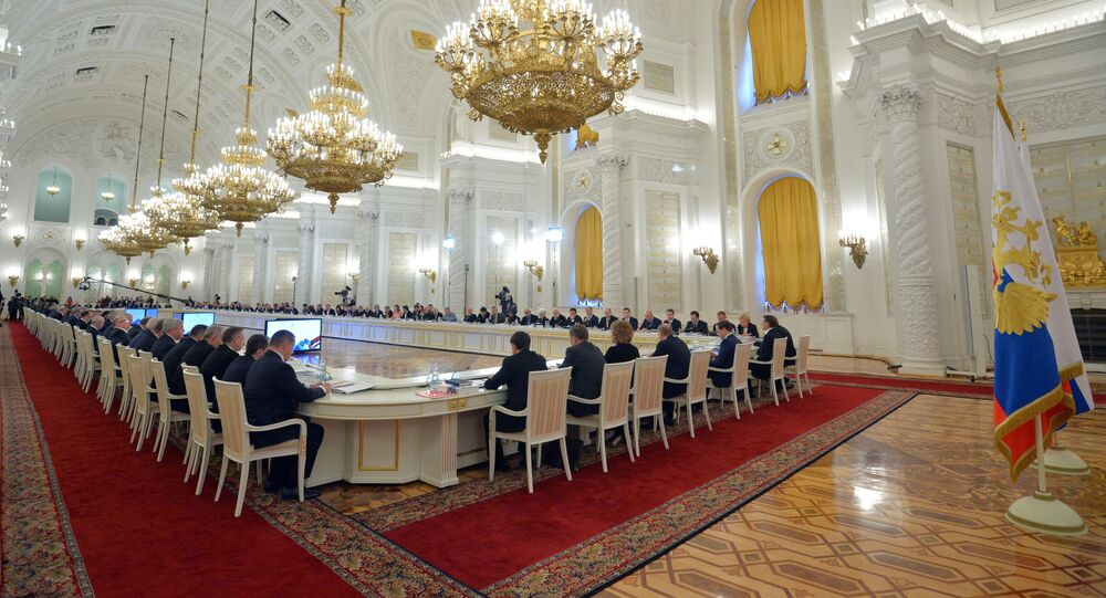 General view of the meeting of the State Council in Moscow's Kremlin, Russia, on Wednesday, Dec. 24, 2014. The meeting of the State Council focused on government efforts to support culture