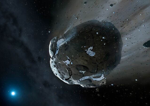 This is an artist's impression of a rocky and water-rich asteroid