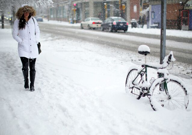 A woman walks past a bicycle covered in snow during a winter snowstorm in Cambridge, Massachusetts January 24, 2015