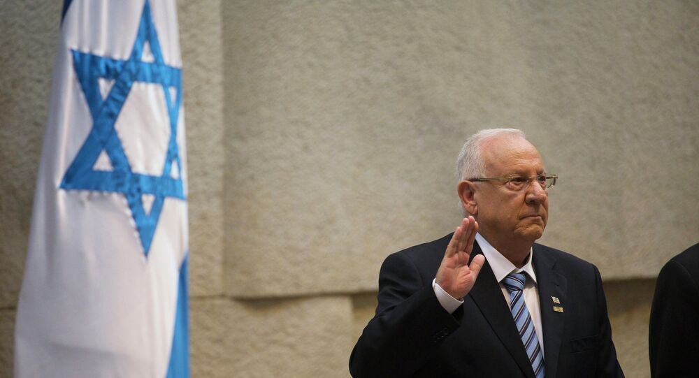 Incoming Israeli President Reuven Rivlin is sworn in during a ceremony at the Knesset, Israel's parliament, in Jerusalem