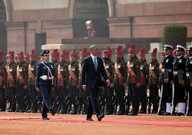 President Barack Obama reviews members of the military during an arrival ceremony at Rashtrapati Bhavan, the presidential palace, in New Delhi, India, Sunday, Jan. 25, 2015
