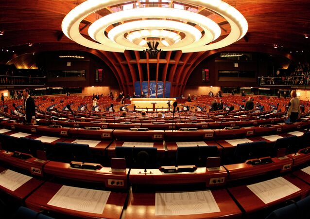 General view of the plenary room of the Council of Europe in Strasbourg, eastern France