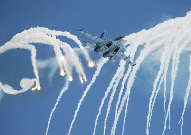 A Sukhoi 30 multi-purpose fighter jet