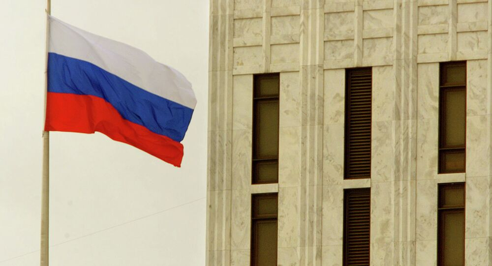 The Russian Federation flag flies above the Russian embassy in Washington, DC.