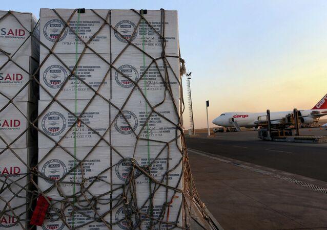Humanitarian aid supplies from USAID