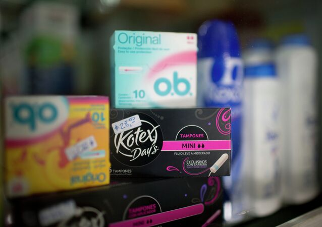 Tampons are displayed on a shelf at a drug store in Buenos Aires, Argentina