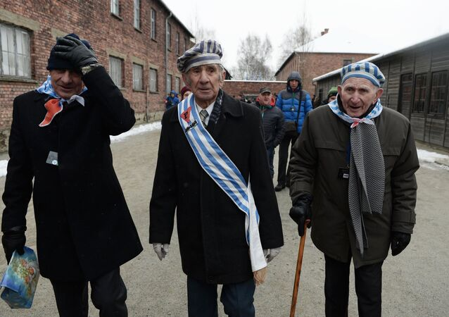 Former inmates of the Auschwitz-Birkenau concentration camp, during a memorial event marking the 70th anniversary of the camp's liberation, in Oswiecim