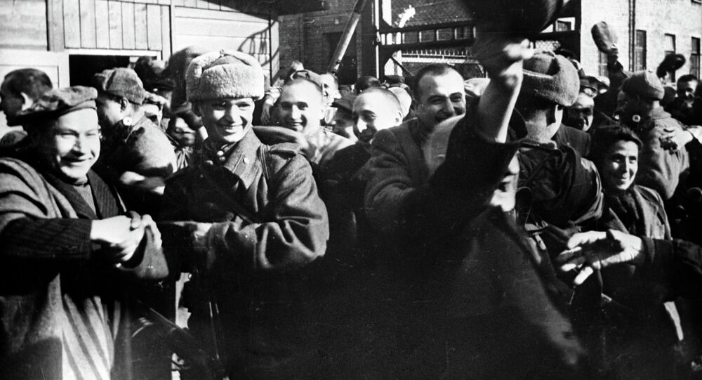 Second World War of 1939-1945. Prisoner's of Oswiecim at first minutes after they were released by Soviet soldiers. January of 1945. (File)