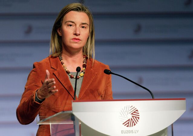 European Commission High Representative Federica Mogherini speaks during a news conference