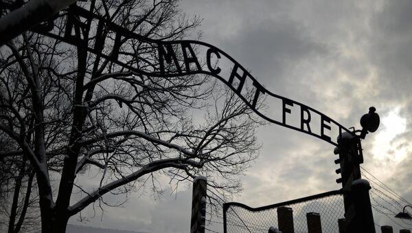 The central gate of the former Auschwitz-Birkenau concentration camp in Auschwitz - Sputnik International