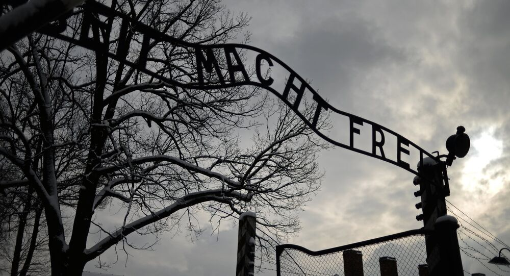 The central gate of the former Auschwitz-Birkenau concentration camp in Auschwitz