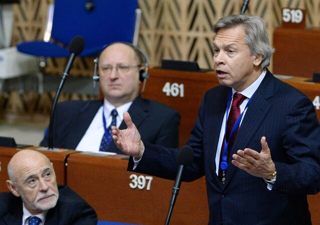 Alexei Pushkov at a plenary meeting of the winter session of the Parliamentary Assembly Council of Europe.