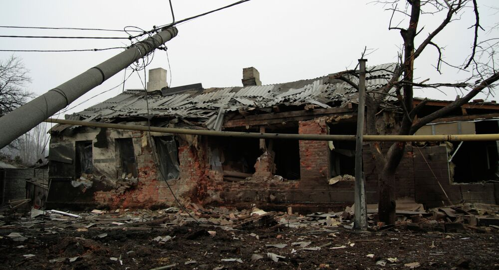 A private house destroyed in the shelling in Donetsk's Petrovsky district.