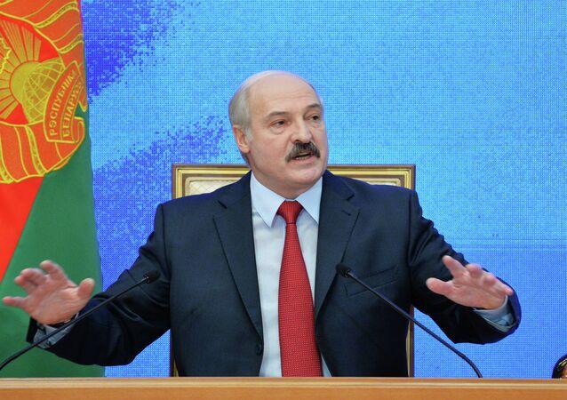 News conference of Belarusian President Alexander Lukashenko