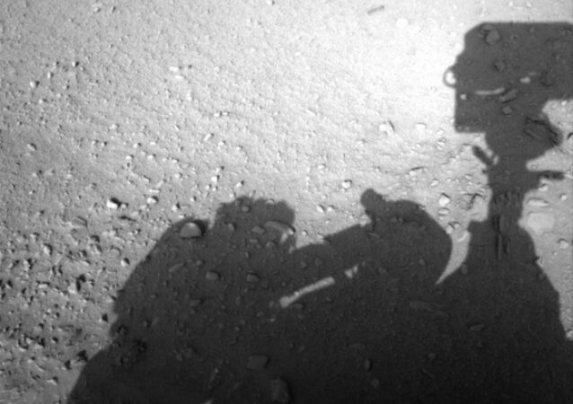 This image is believed to have captured the shadow of human shaped workman on Mars fixing the Rover