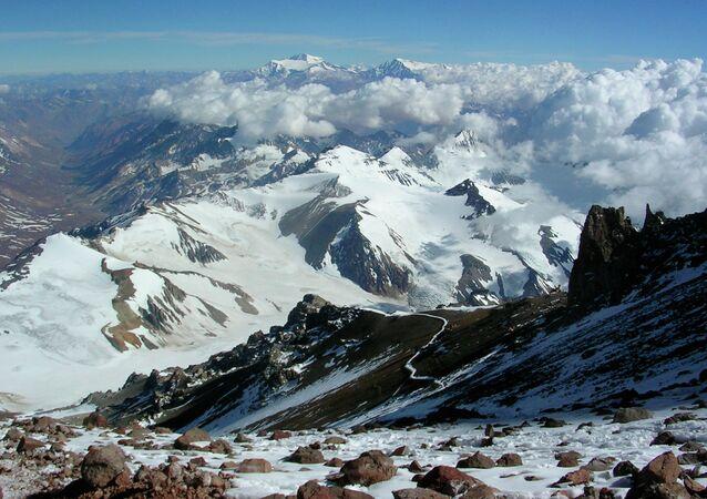 Summit of Mount Aconcagua in Argentina