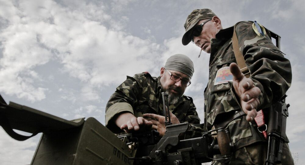 Field training of Ukraine's Aidar battalion close to Lugansk