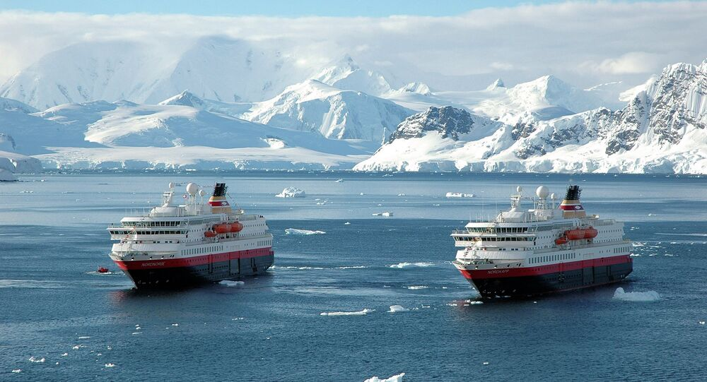 Two of the Norwegian shipping company's cruise ships in Paradise Bay in the Antarctica