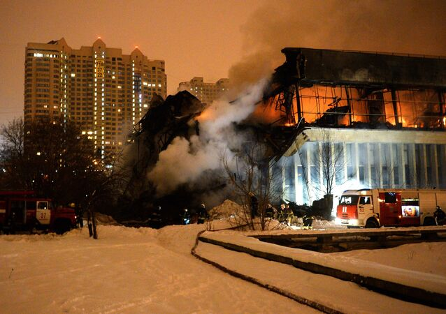 On the site of a fire in the library of the Academic Institute of Scientific Information on Social Sciences