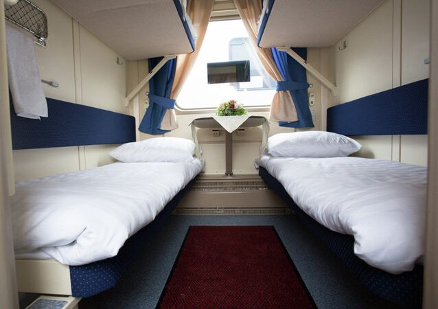 Sleeping places, four to a room in the sleeping car, in Tver Carriage Works' new double decker design.