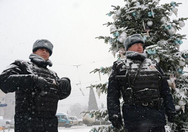 Police officers on Tverskaya Street, Moscow