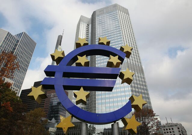 The EURO logo is pictured in front of the European Central Bank, ECB in Frankfurt/Main, central Germany