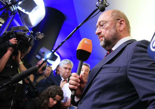 European Parliament President Martin Schulz and candidate for the Socialist party to become European Commission President