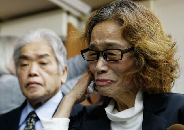 Junko Ishido, mother of Kenji Goto, a Japanese journalist who was held captive by Islamic State militants, speaks to reporters at her house in Tokyo February 1, 2015