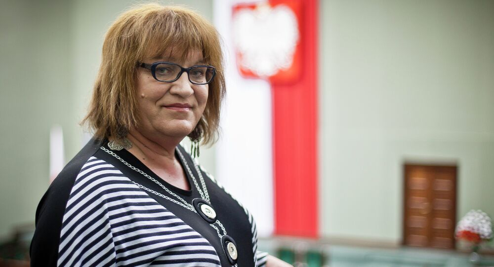 Anna Grodzka, Poland's first-ever transsexual lawmaker arrives at Polish Parliament