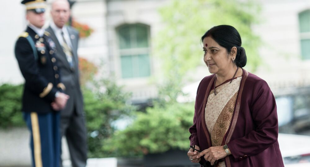Indian Foreign Minister Sushma Swaraj arrives for a meeting with Indian Prime Minister Narendra Modi and US President Barack Obama in the White House September 30, 2014 in Washington, DC.