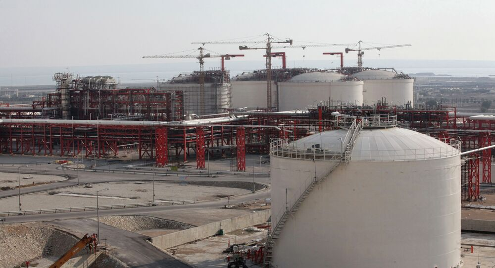 This picture taken on Wednesday, Jan. 22, 2014, shows facilities of a natural gas refinery under construction in the South Pars gas field on the northern coast of Persian Gulf in Asalouyeh, Iran.