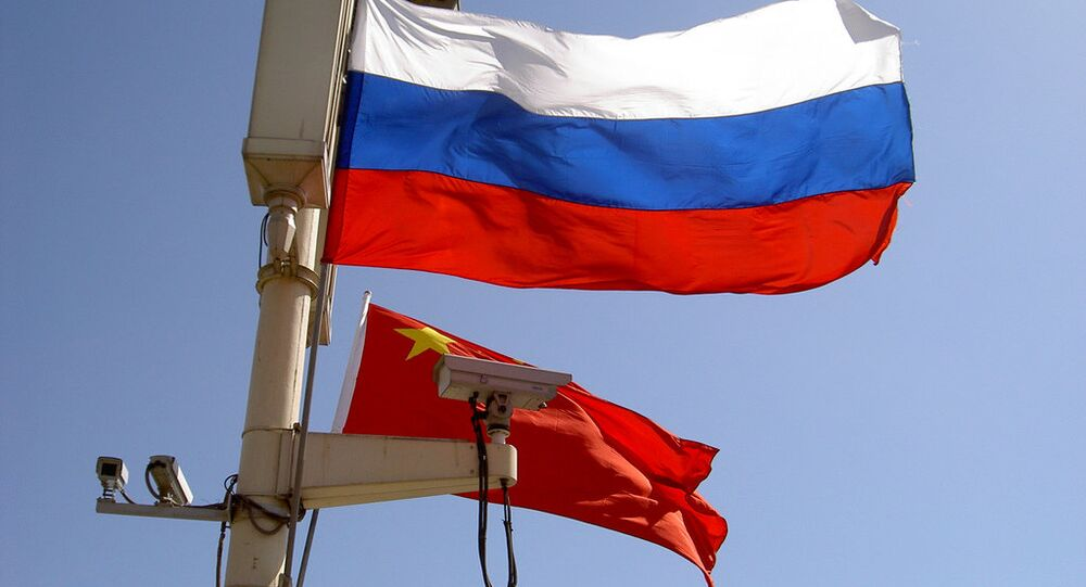 Russian, Chinese flags