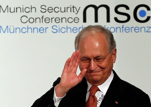Wolfgang Ischinger, Chairman of the Munich Security Conference gestures prior to his opening speech in Munich, southern Germany, on Friday, Feb. 1, 2013