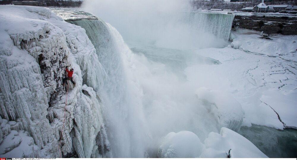 Will Gadd ice climbs the first ascent of Niagara Falls in Niagara Falls, NY, USA on 27 January, 2015