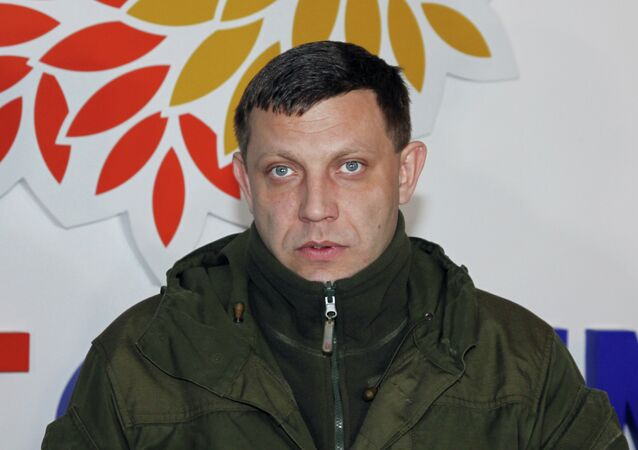 Head of the Donetsk People's Republic Alexander Zakharchenko speaks at Concern Stirol during his visit to Gorlovka