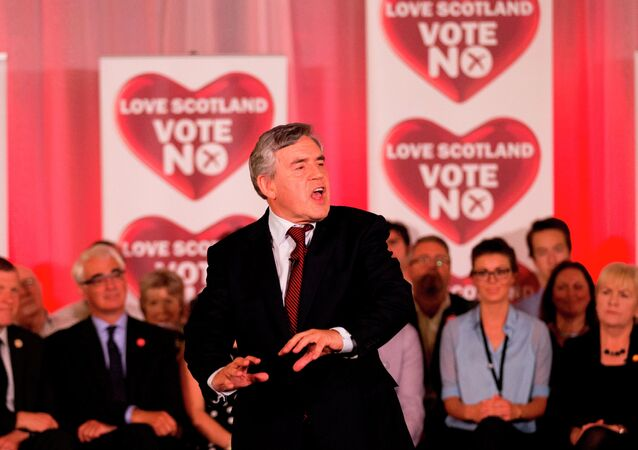 Former British Prime Minister and No campaigner for the Scottish independence referendum Gordon Brown delivers a speech at a No campaign event in Glasgow, 2014