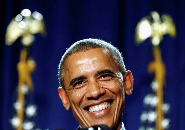 US President Barack Obama smiles as he delivers remarks at the House Democratic Issues Conference in Pennsylvania
