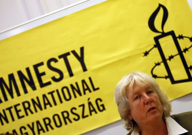 Amnesty International Europe and Middle Asia program director Nicola Duckworth gives a press conference on the 'Violent attacks againts Roma in Hungary'