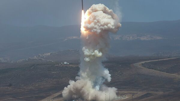 The Missile Defense Agency's test of its Ground-based Midcourse Defense (GMD) system. The Ground-Based Interceptor launched from Vandenberg Air Force Base, in California on 22 June 2014. - Sputnik International