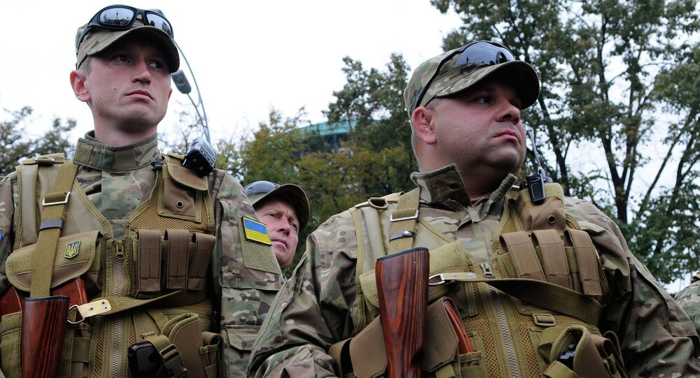 Volunteers from the Sich battalion are ready for dispatch to the area of hostilities in southeastern Ukraine